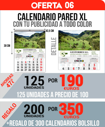 Oferta 06: 200 Calendarios Pared XL todo Color