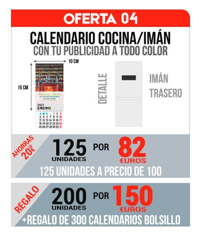 Oferta 04 Calendarios Iman/Cocina