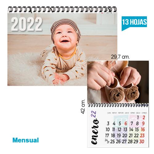 calendario Pared Tipo revista todo color. 29,7 x 42 cm.