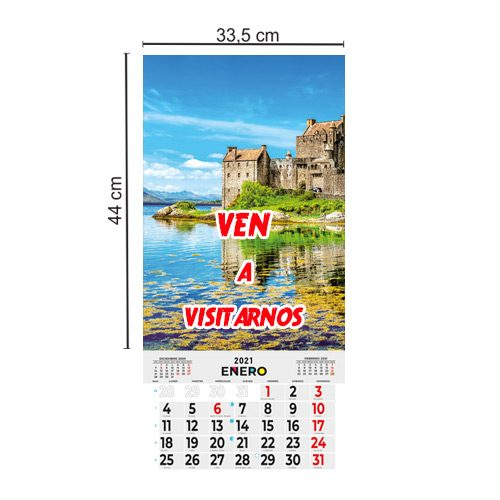 Calendario Pared 33,5x44 Mensual