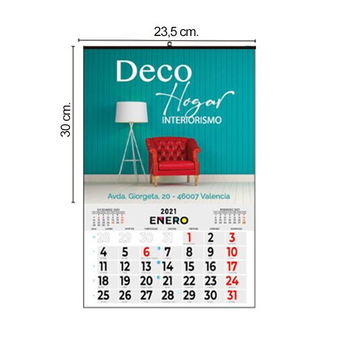 Calendario Pared 23,5x30 Mensual