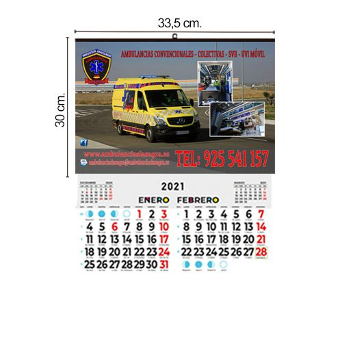 Calendario Pared 33,5x30 Bimensual