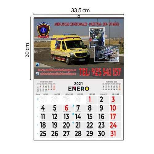 Calendario Pared 33,5x30 Mensual