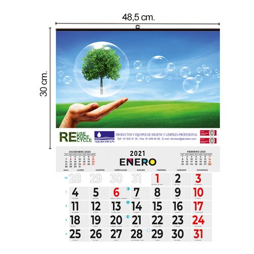 Calendario Pared Grande 48,5x30cm