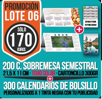 Lote 06: 200 Calendarios Sobremesa Semestrales